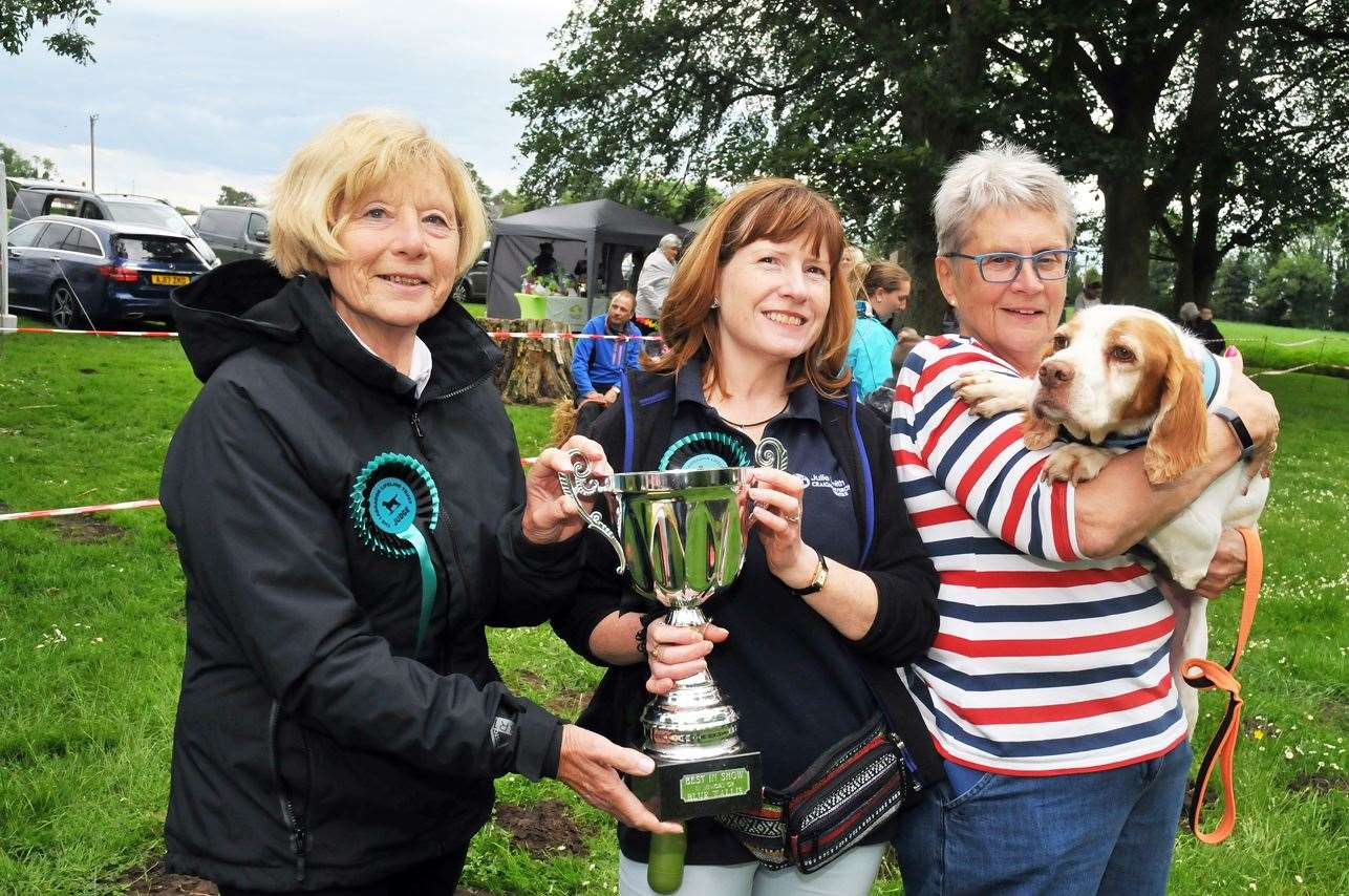 Judges Julie Smith, of Craigard Hydrotherapy, and Margaret Law, of Chestnut Dog Training, with organiser Shirley Smith with Sky