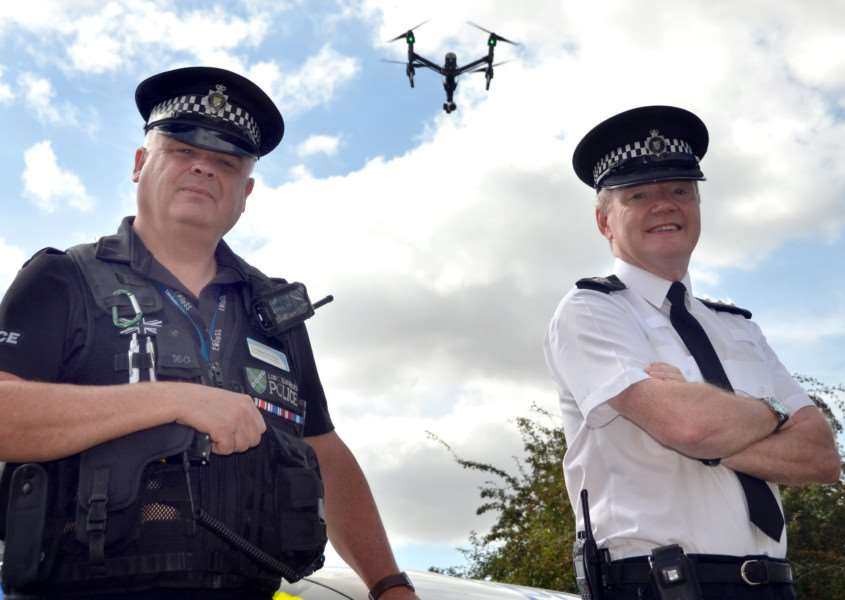 Drones were introduced into the police armoury in 2016 when Chief Insp Jim Tyner (right) and PC Nick Willey were pictured at a local farm. Photo (TIM WILSON): SG010916-111TW