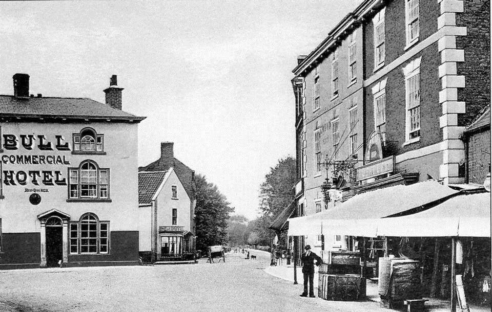 How Barlings Butcher's and The Bull Hotel looked in the 1920s. Photo supplied b y Judy Sadd.