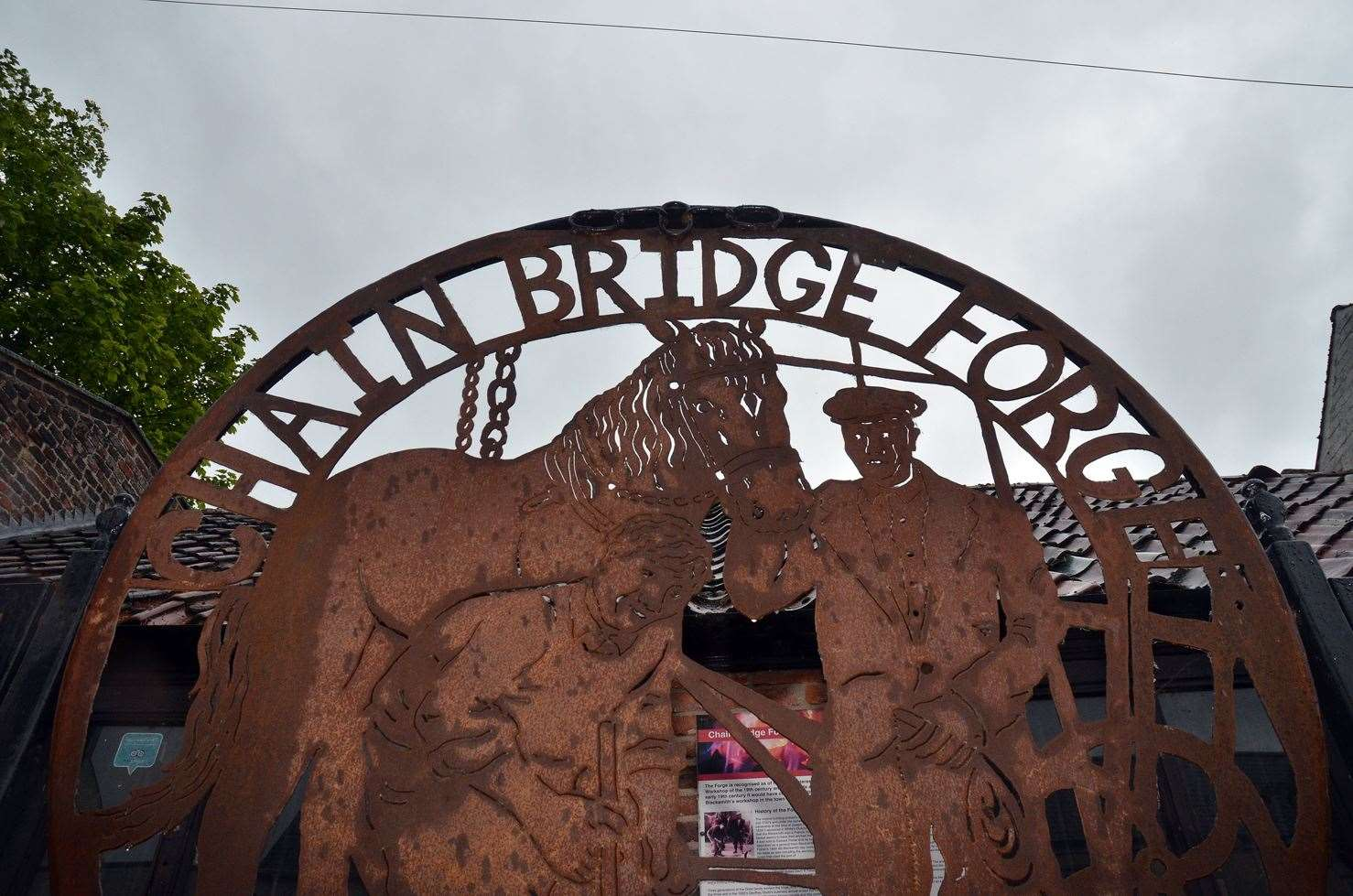 Chain Bridge Forge Official Opening of ArtworkJudith Dodd, wife of blacksmith Geof Dodd by picture depicting him (11969993)