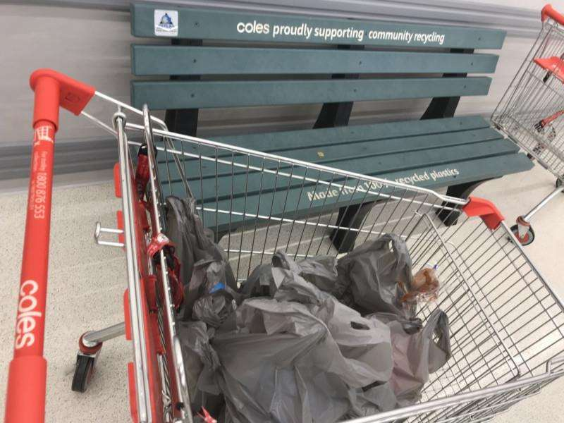 Platic bags in a trolley