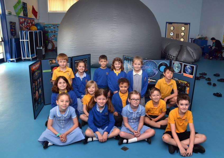 Pupils ready to head into the night sky in the domed planetarium. Photo (TIM WILSON): SG230418-100TW