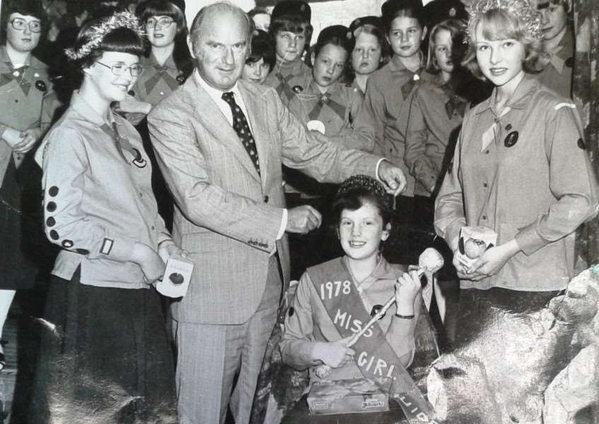 Clare Darnes (nee Woodthorpe) is crowned Miss Girl Guide 1978