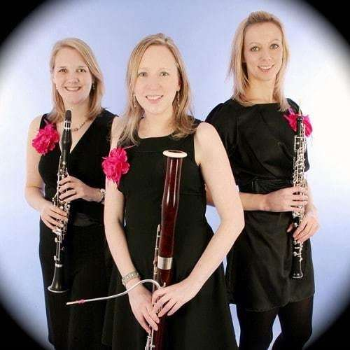 Helen James (Clarinet), Alexandra Davidson (Bassoon) and Jenna Bausor (Oboe) are The Marylebone Trio. Photo by Michael Clement.