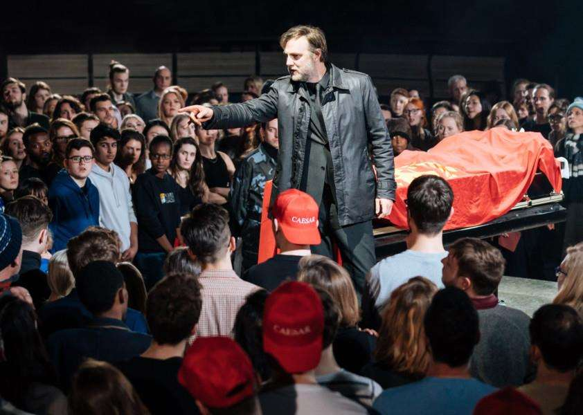 IDES OF MARCH: David Morrissey as Mark Antony in Nicholas Hytner's production of William Shakespeare's 'Julius Caesar' at London's Bridge Theatre. Photo by Manuel Harlan.