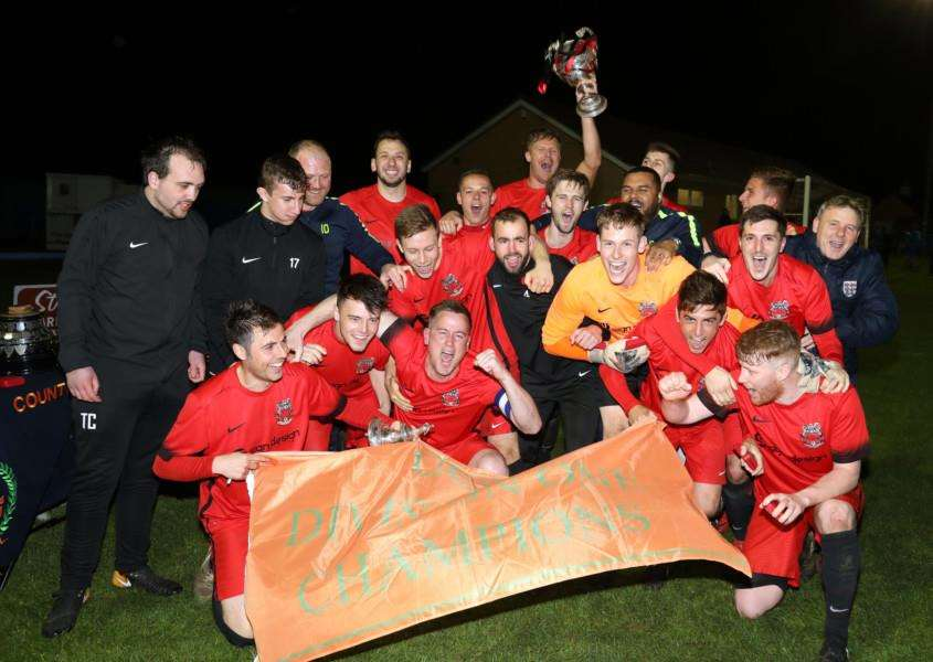 The trophy was presented after the draw at Thrapston. Photo: Alsion Bagley
