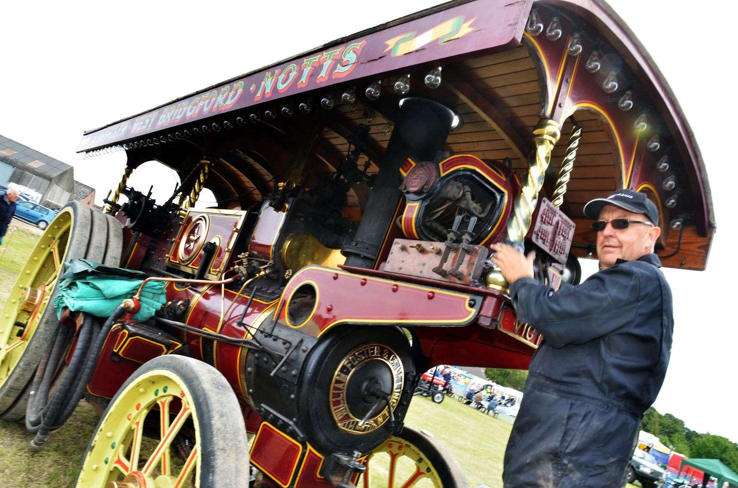 Anthony Thompson polishes a Showman's Engine at the event last year.