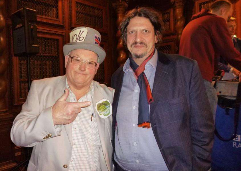 Inventor John Ward with broadcaster, writer and food critic Jay Rayner.