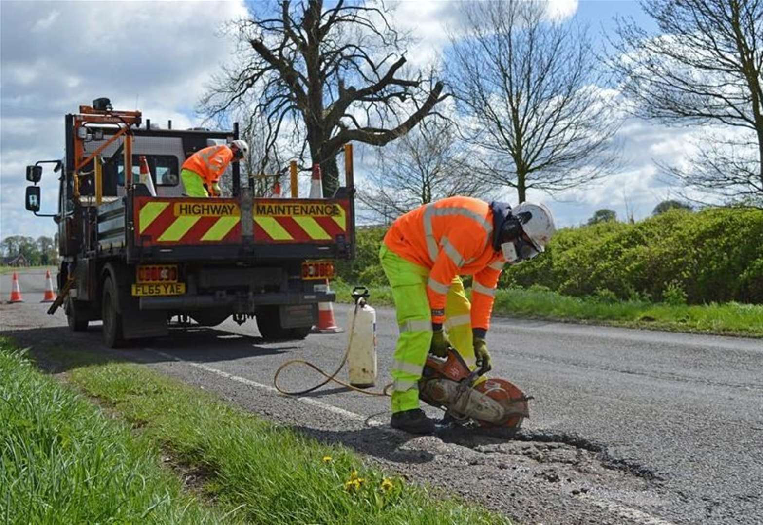 Roadworks on A151 with a 20mph speed limit in force
