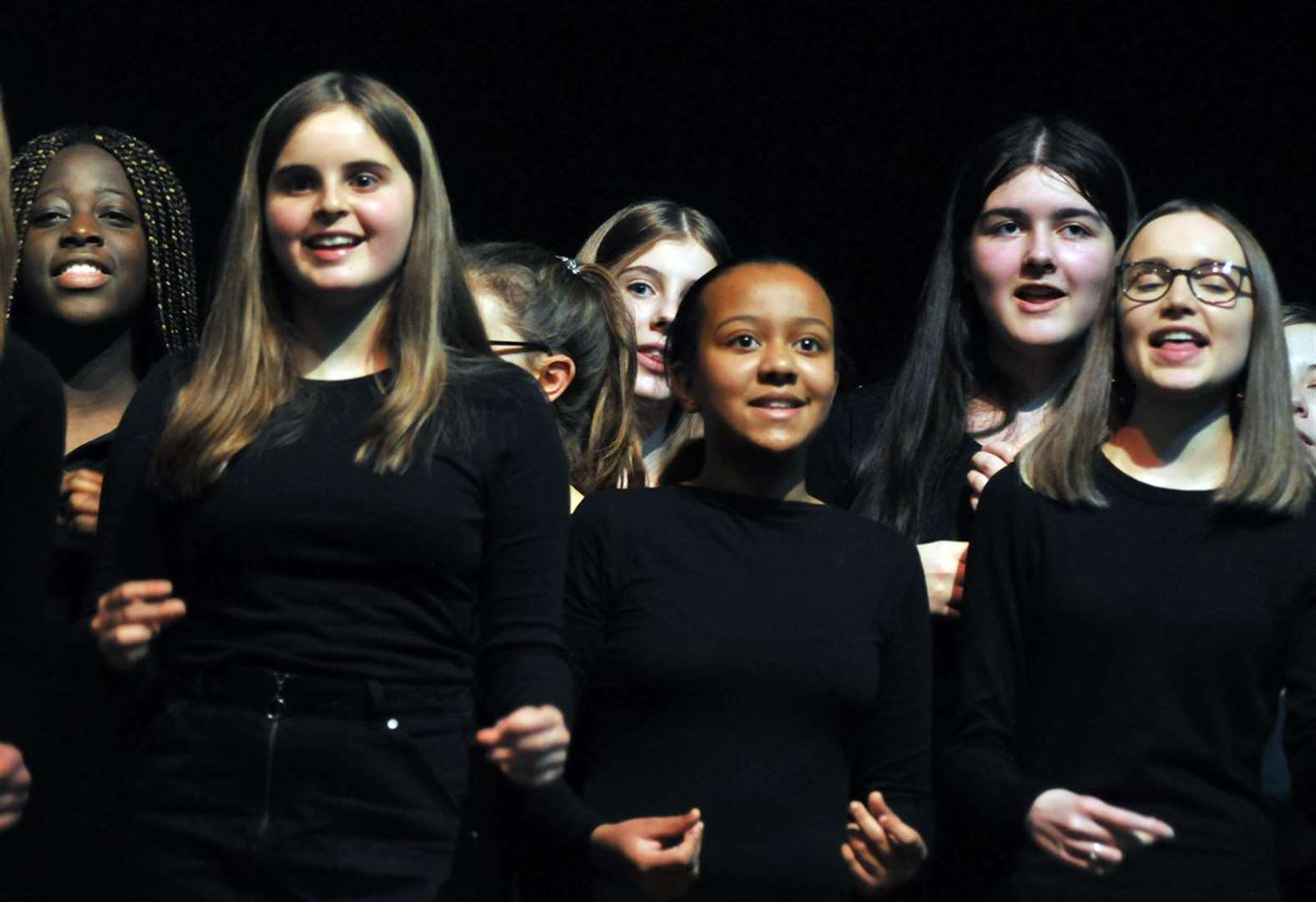 Snow falls on school choir at winter concert