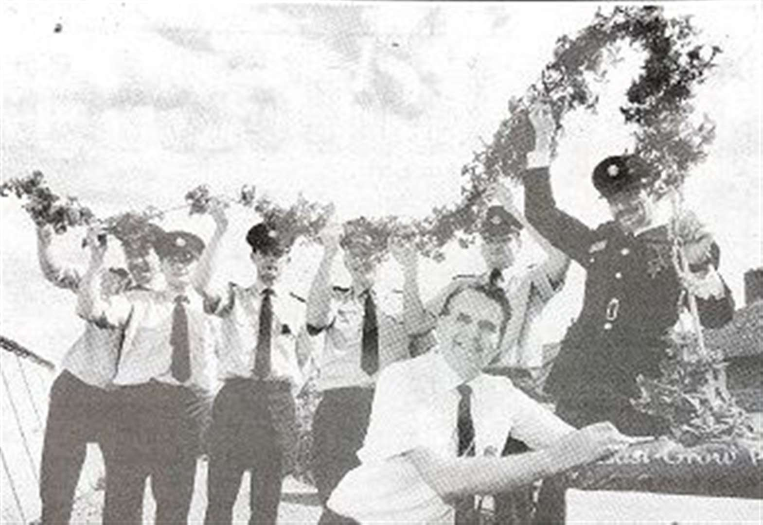 NOTALGIA: Spalding firemen help Bernard measure the tallest ever petunia 25 years ago