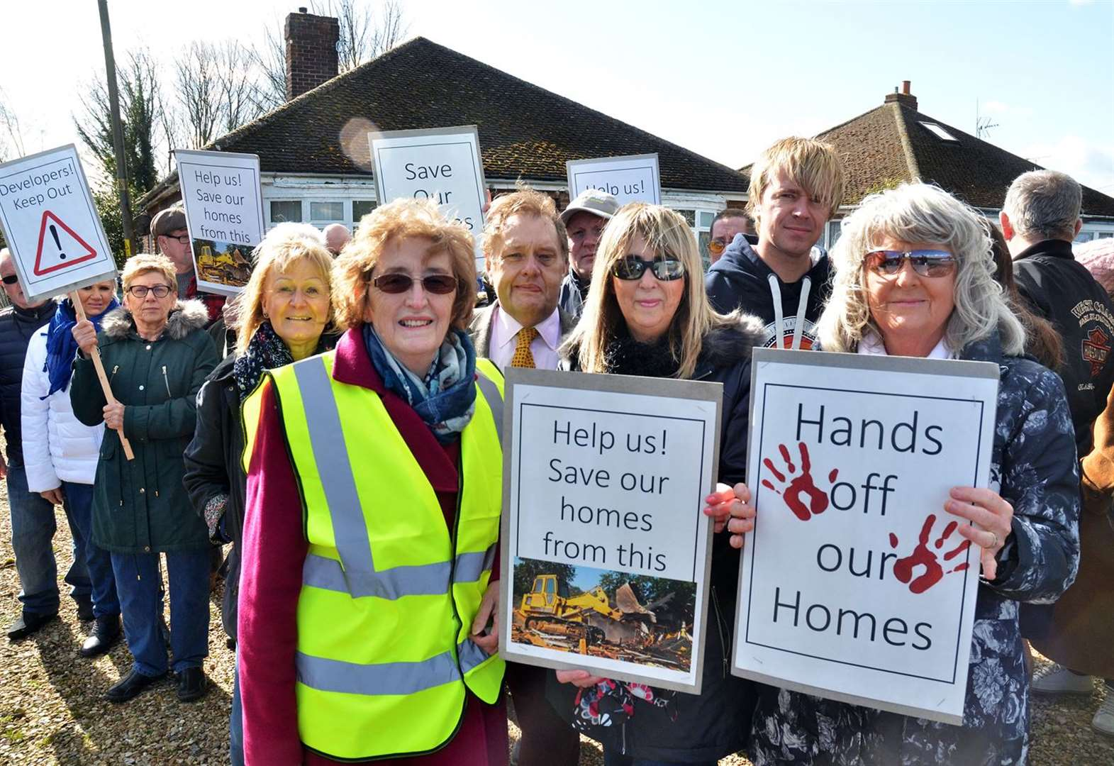 Placard protest in Spalding's Bourne Road as residents fight for their homes