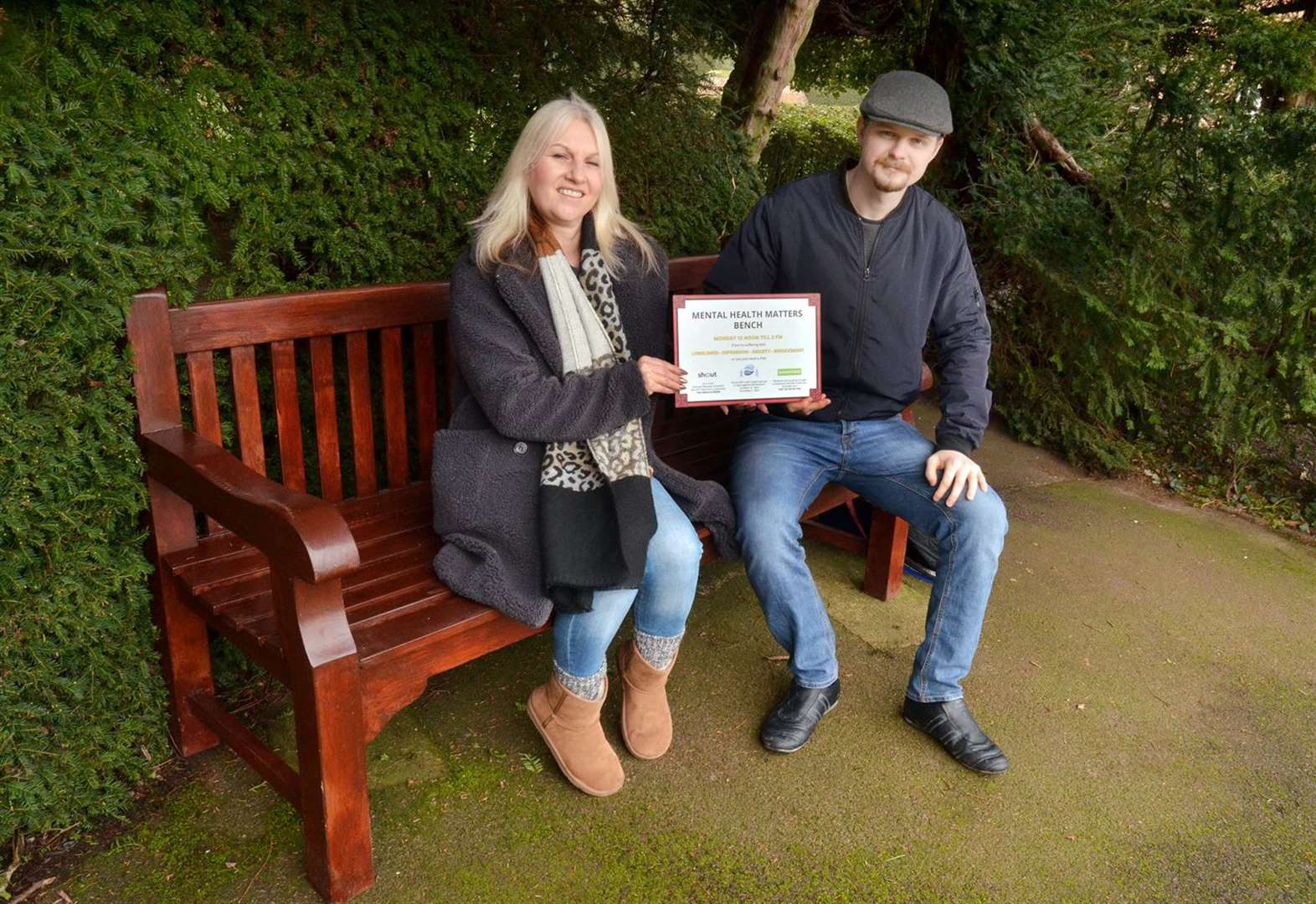 Bench in public gardens offers informal help for mental wellness