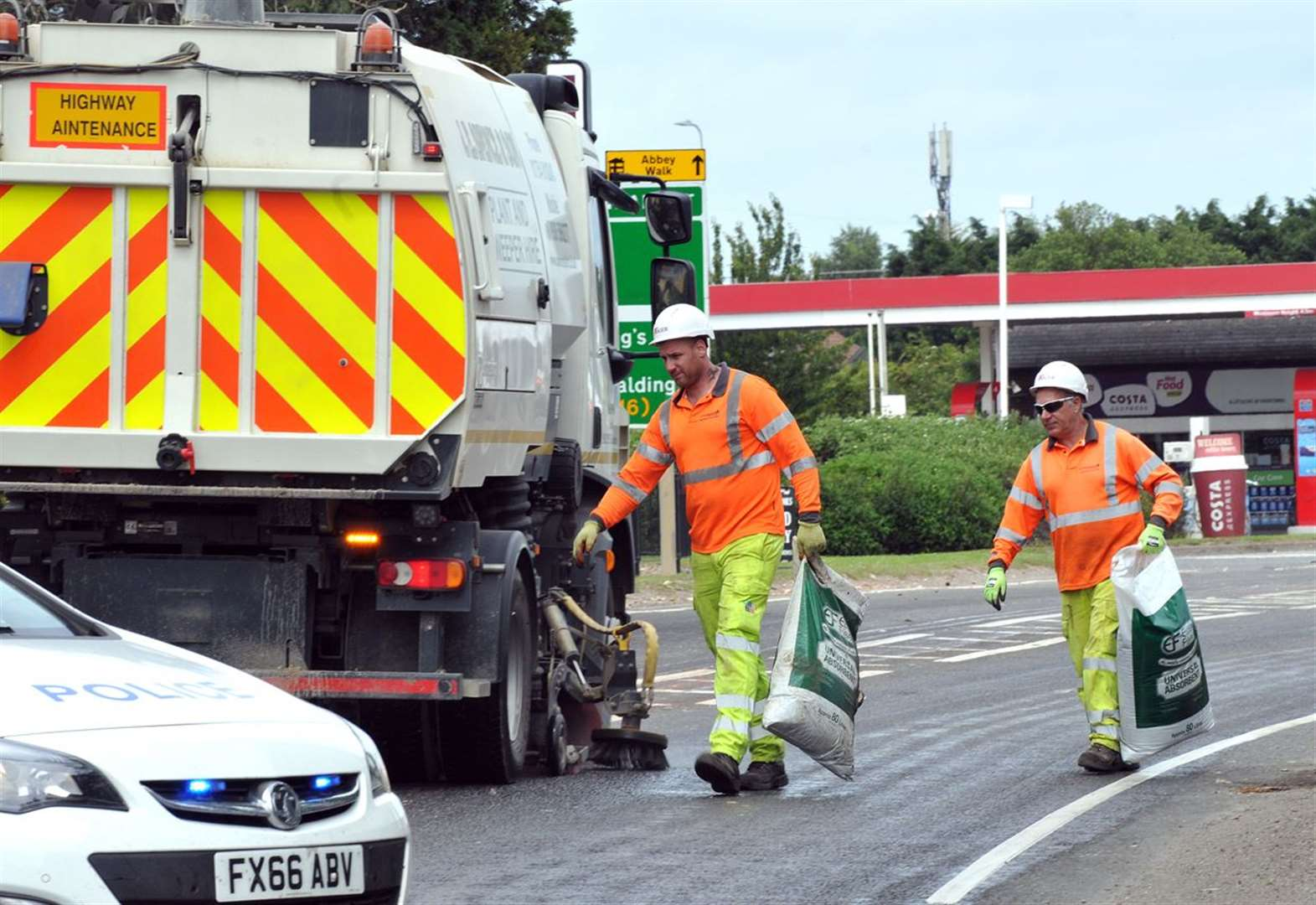Bicker Bar roundabout vegetable spill: pictures from the scene as clear-up is under way on the A52