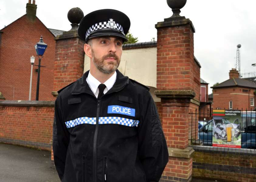 South Holland Neighbourhood Policing Inspector Gareth Boxall outside Spalding Police Station. Photo by Tim Wilson.''SG190517-209TW.