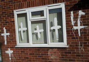 Matthew Poxon's vandalised house in Rowan Avenue, Spalding.Photo supplied. (2650637)