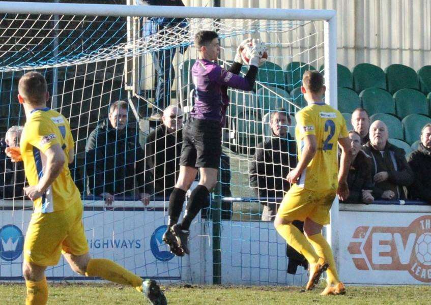 Michael Antkowiak collects a cross at Chasetown