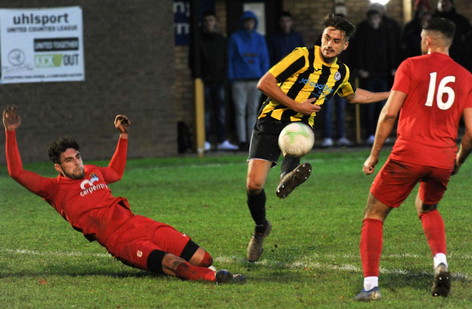 Holbeach United lost against Harborough Town before lockdown.
