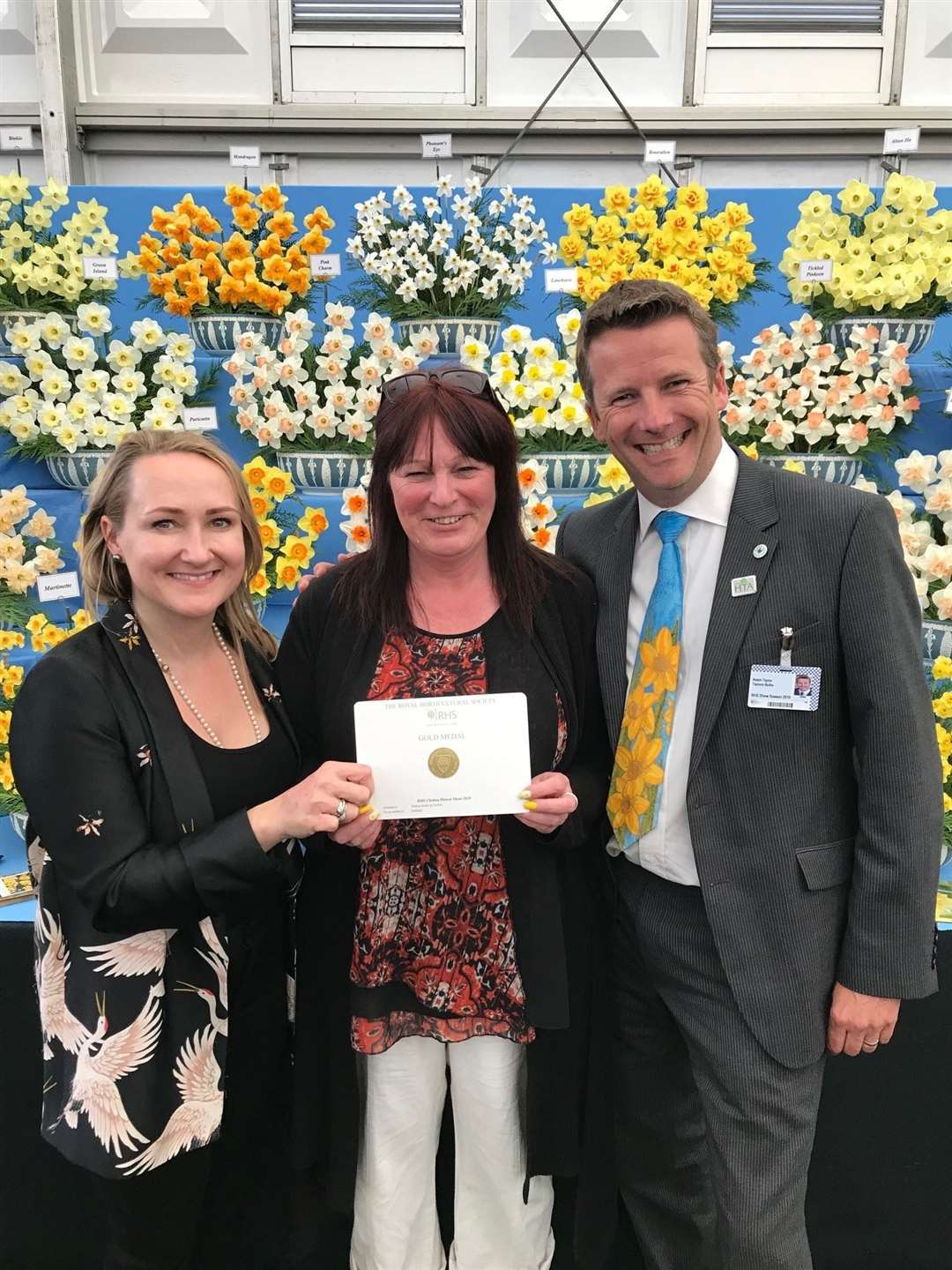 Rebecca Brookhouse, Sallyanne Foreman and Adam Taylor with a 26th gold at the RHS Chelsea Flower Show.