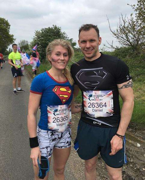 Dan and Meg are pictured at last year's Wings for Life World Run in Cambridge.