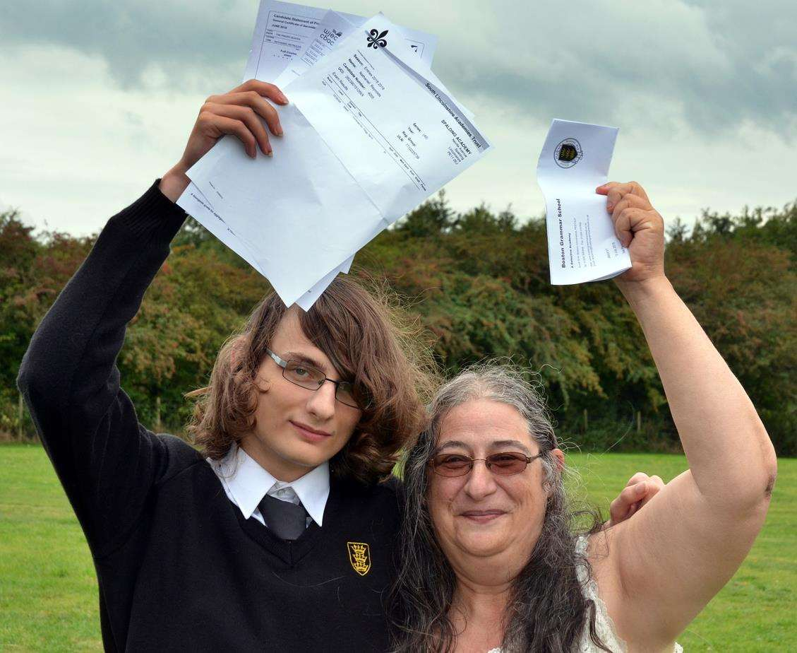 High-flying GCSE autistic student Nathaniel and mum Ros Reynolds. Photo by Tim Wilson. SG-080918-098TW (4066553)