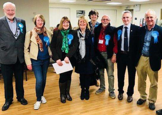 New district councillor Sue Wray (third left) with supporters at the election count. Photo supplied.