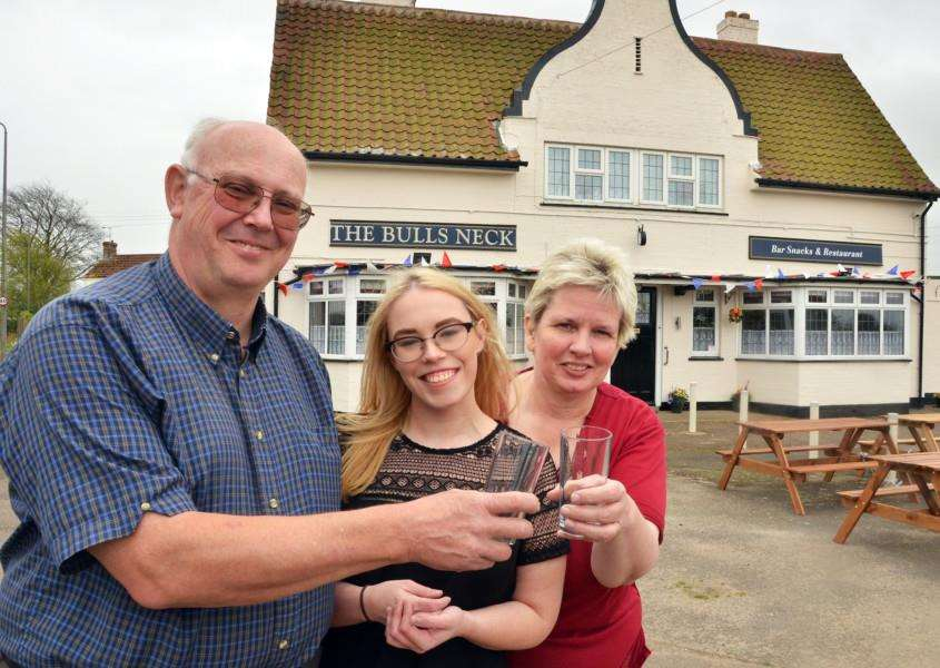 Neil, Claire and Lyn Spiers outside The Bull's Neck pub in Washway Road, Penny Hill, Holbeach. Photo by Tim Wilson.''SG140417-114TW.