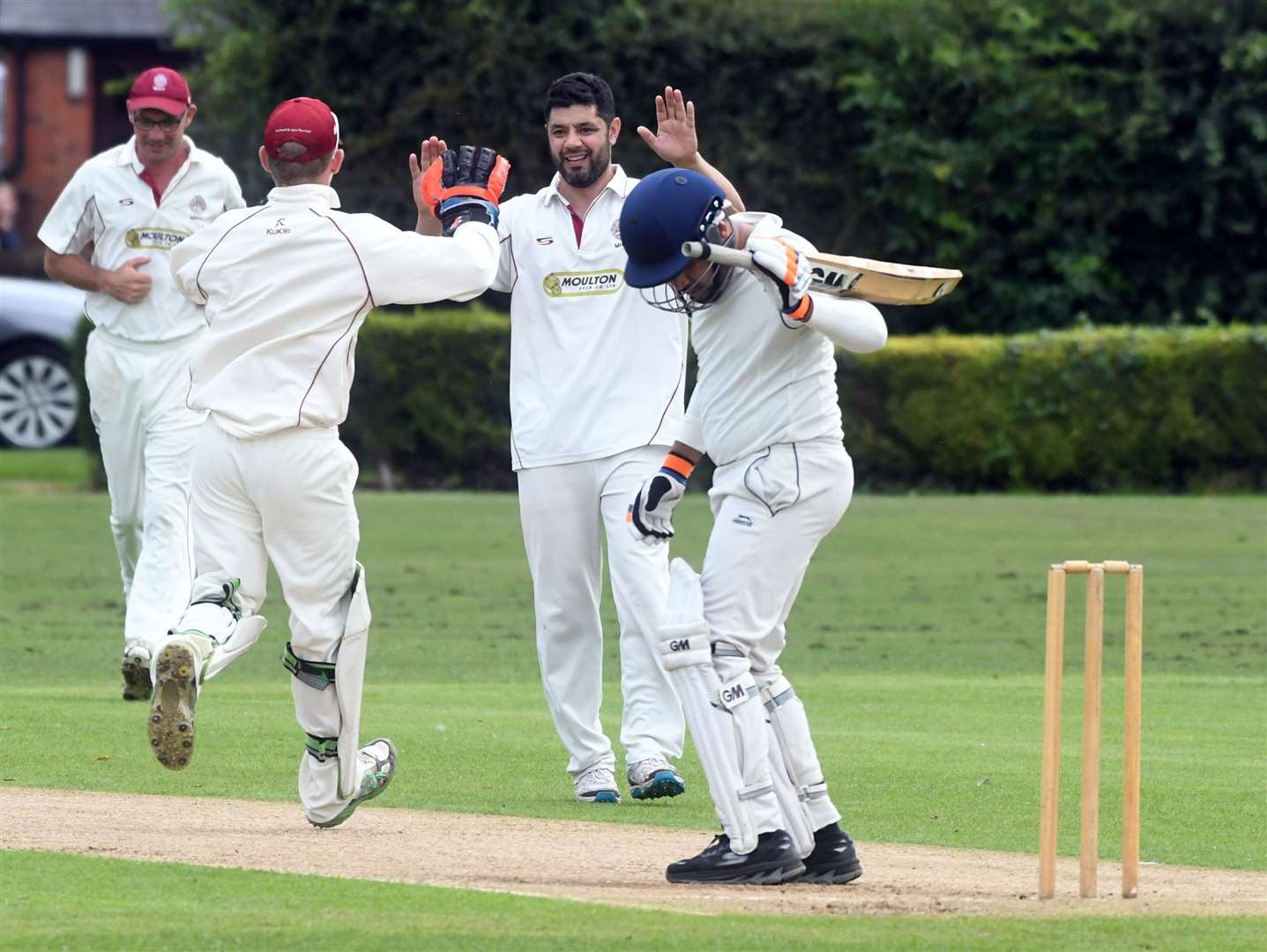 Nohman Jarral celebrates dismissing Chaitanya Dave LBW.Photo by Adam Fairbrother.SG-030819-023AF
