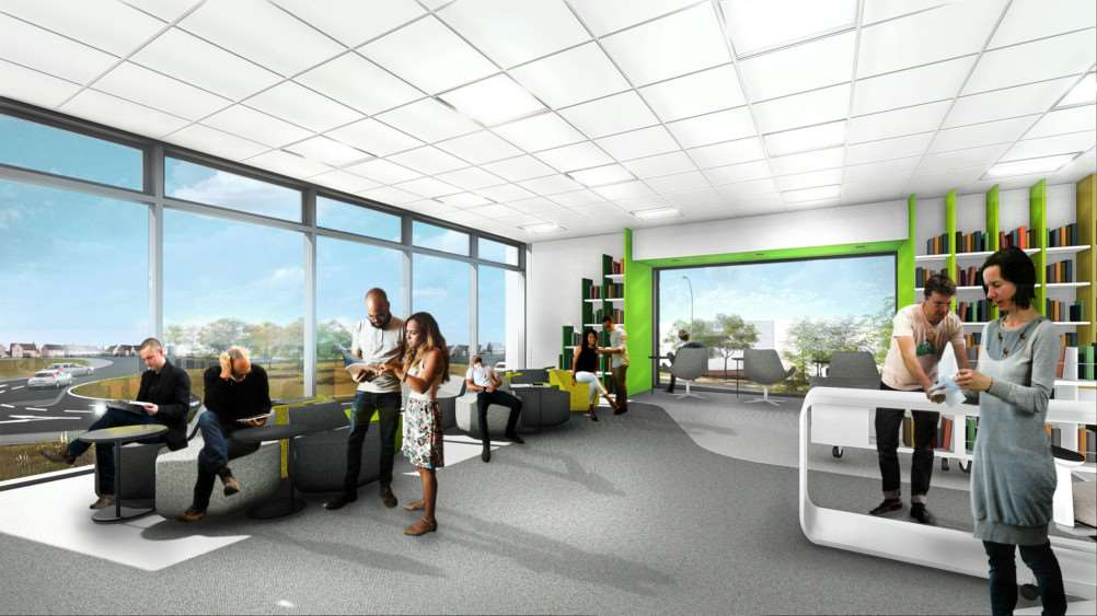 An artist's impression of the library in the proposed university building. Image: Courtesy of the University of Lincoln.