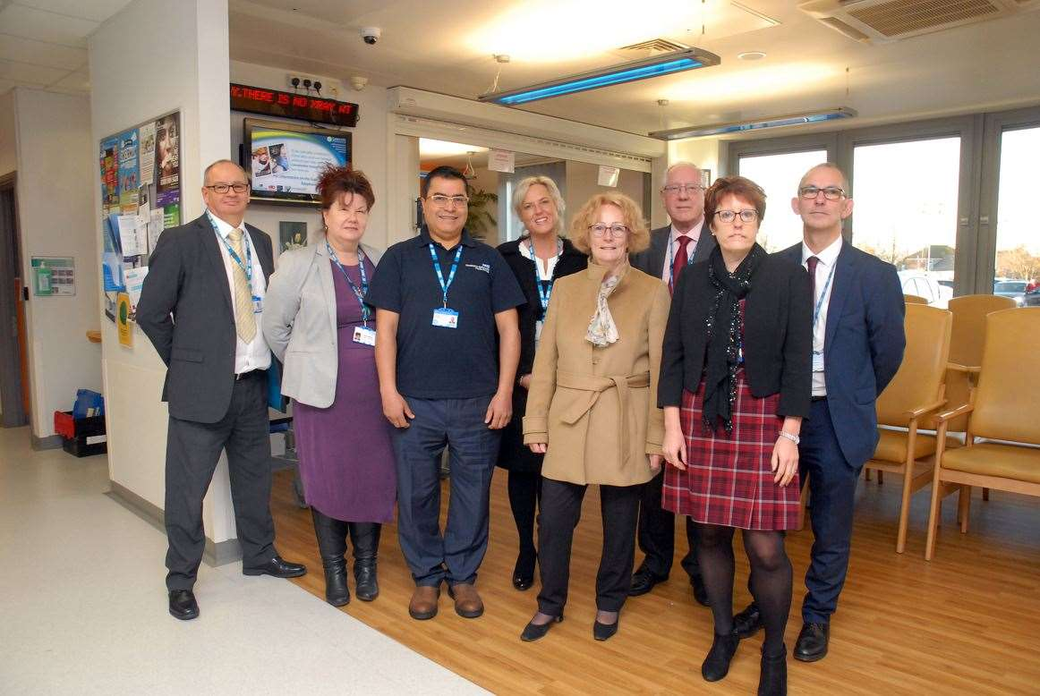 Spalding GP Surgery staff, from left: contracts manager Adrian Audis, practice manager Helen Mather, general practitioner Majed Kebbett, chief exec Maz Fosh, chair CCG commmittee Hilary Daniels, lay member Preston Keeling, dept chair Nurse Rebecca Neno, chief operating officer Andrew Rix.