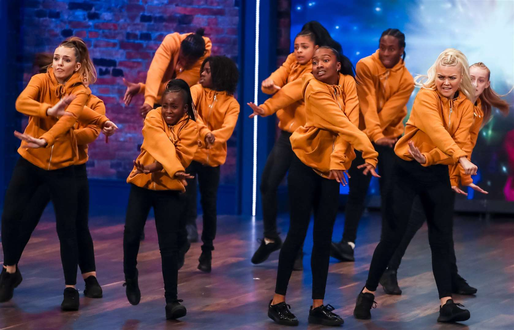 Dolcie Simmons (right) performs with London-based street dance group Prospects Fraternity on BBC TV's The Greatest Dancer. Photo by Tom Dymond, courtesy of Syco/Thames Productions.