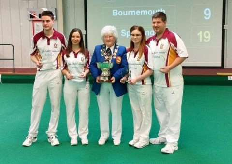 Mathew Orrey, Chelsea Tomlin, Ruby Hill and Martin Spencer receive their trophy from Margaret Allen, president of the EIBA.