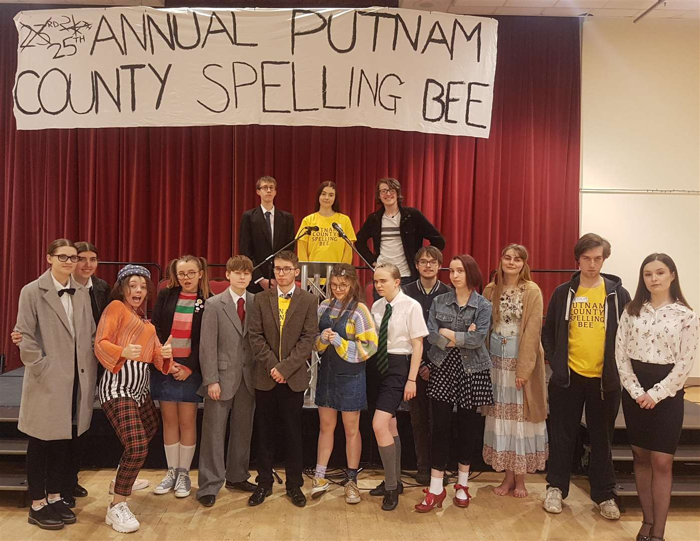The cast of Act II's musical, The 25th Annual Putnam County Spelling Bee, at South Holland Centre, Spalding. Photo by Karl Gernert. (7226167)