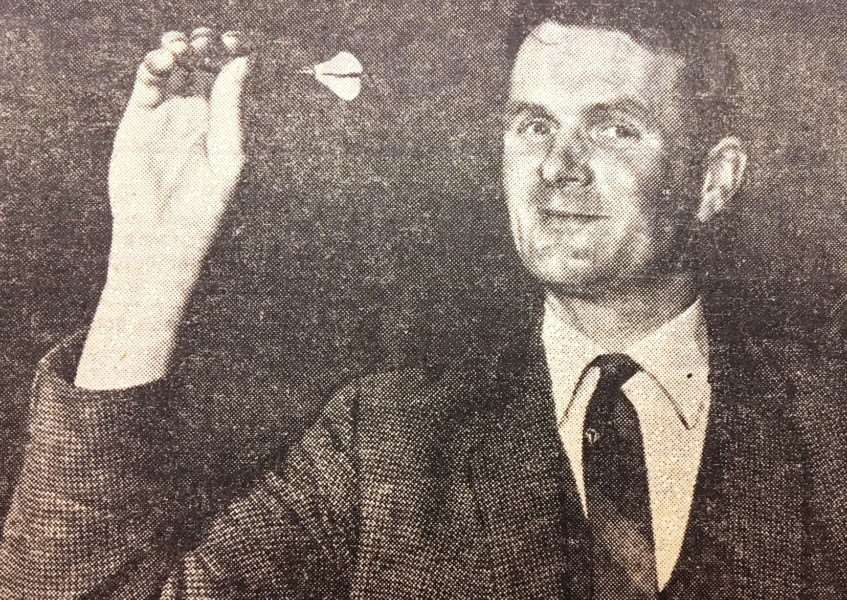 Top darter Martin Carter takes aim in 1967.