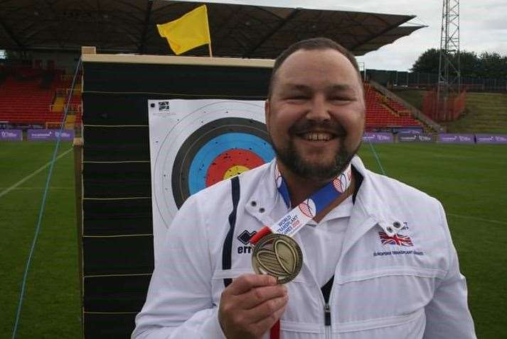 Archer Sam Newton with his individual gold medal at the World Transplant Games in August 2019. Photo credit: Phil Horan. His other gold medal was won partnered with Peter Nichols for Great Britain in the team event.