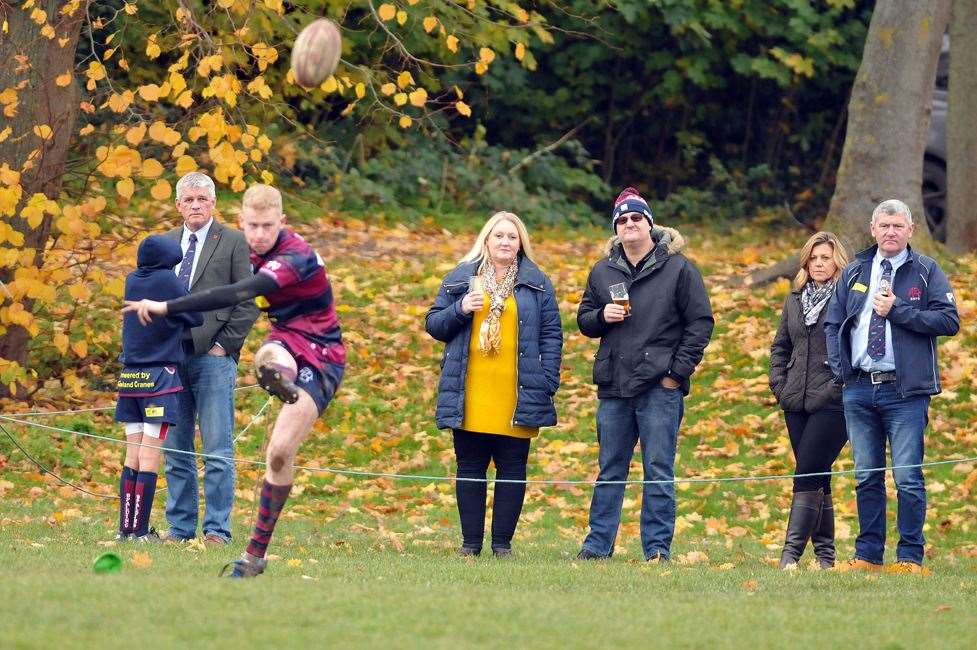 Spalding's Conall Mason kicked three out of four conversion attempts in his side's RFU Midlands Senior Vase win at Manor Park.Photo by Tim Wilson.SG-091118-049TW.