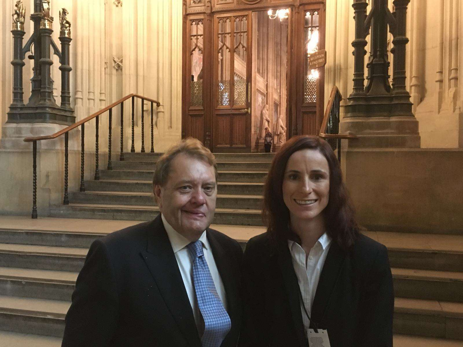 John Hayes, MP for South Holland and the Deepings, with Boston College chief executive and principal Joanne Maher at Westminster during a parliamentary lobby for Colleges Week in October 2018. Photo supplied by Boston College.