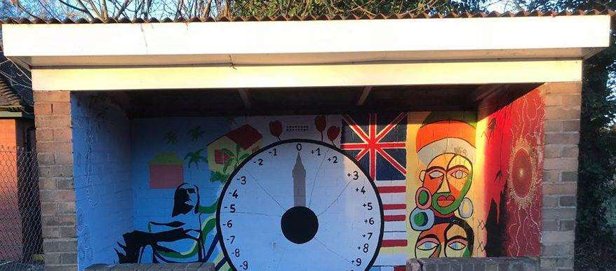 The artwork inside Wignals Gate bus shelter. Photo supplied by Holbeach Parish Council.
