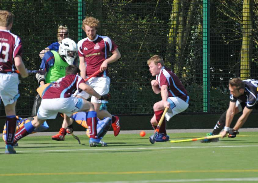 Action at Glen Park from the Spalding v Bourne Deeping hockey clubs in the Lincolnshire Cup men's final. SG090417-213TW