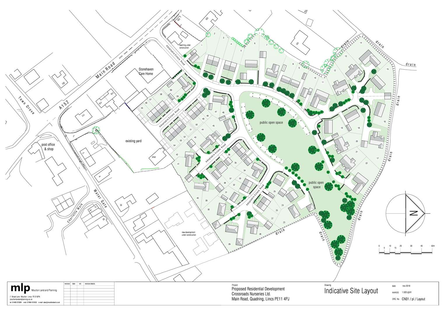 Plans for up to 60 new homes at the Crossroads Nurseries site, off Main Road, Quadring.Image supplied by Moulton Land and Planning Ltd.