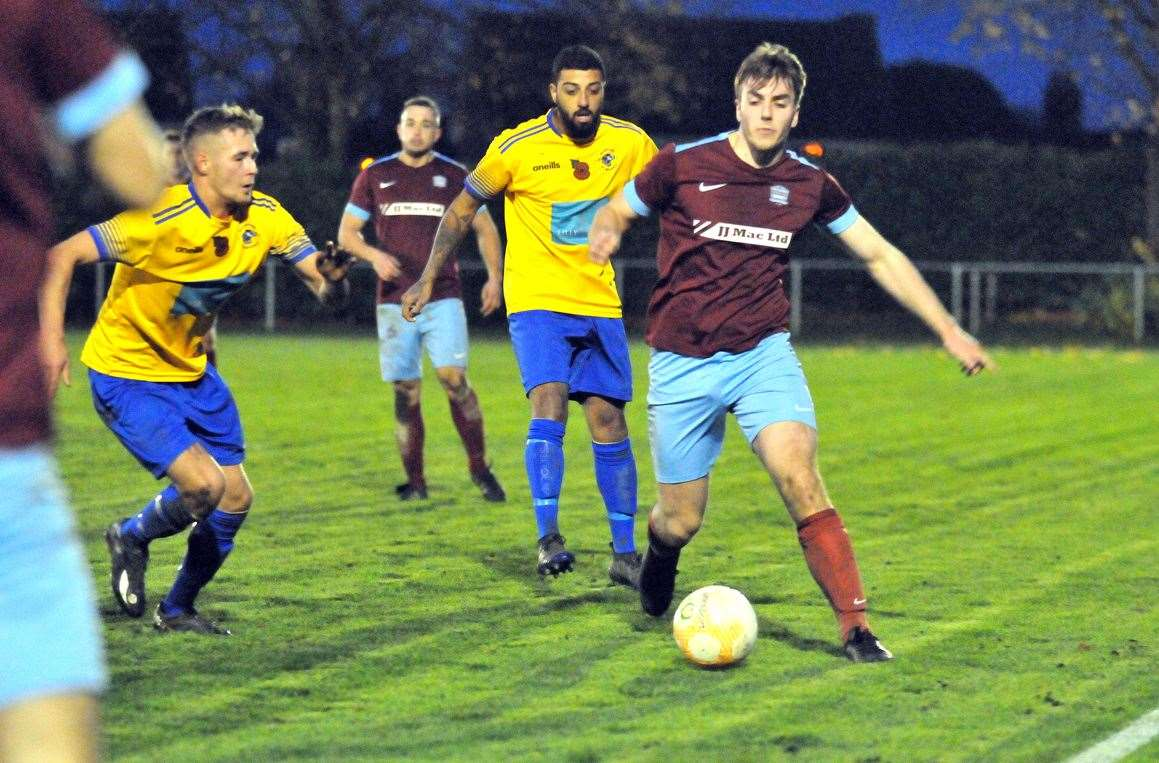 Action from Bourne Town v Bugbrooke St Michaels at the JJ Mac Stadium.Photo by Tim Wilson.SG-091119-006TW.