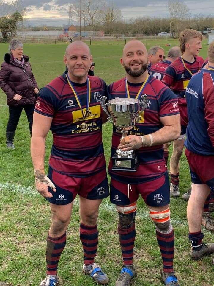 Spalding player/coach Harry Sharman (right) and ex-1st XVs captain Ryan Chappell with the Midlands Senior Vase.Photo supplied.(31572765)