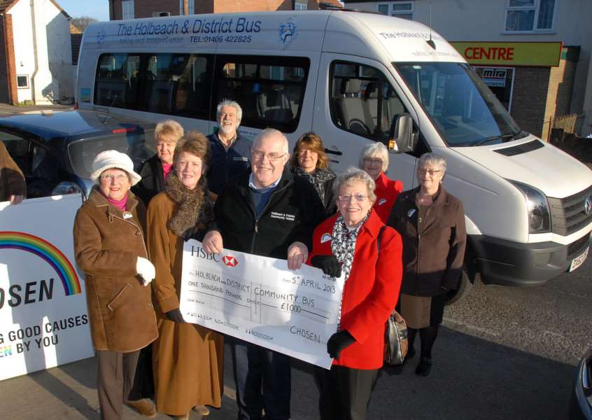 Holbeach-based Chosen Charity Shop presents �1,000 to Holbeach & District Community Bus' committee members in April 2013. Pictured are (front) Jill Hudson-Peacock, Chris Brandon-King, Martin Howard and Iris Bowland. 'Photo (Tim Wilson): SG050413-224TW. www.spaldingtoday.co.uk/buyaphoto
