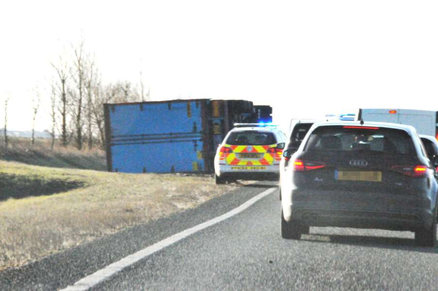 Lorry over, A16 between Cowbit and Crowland
