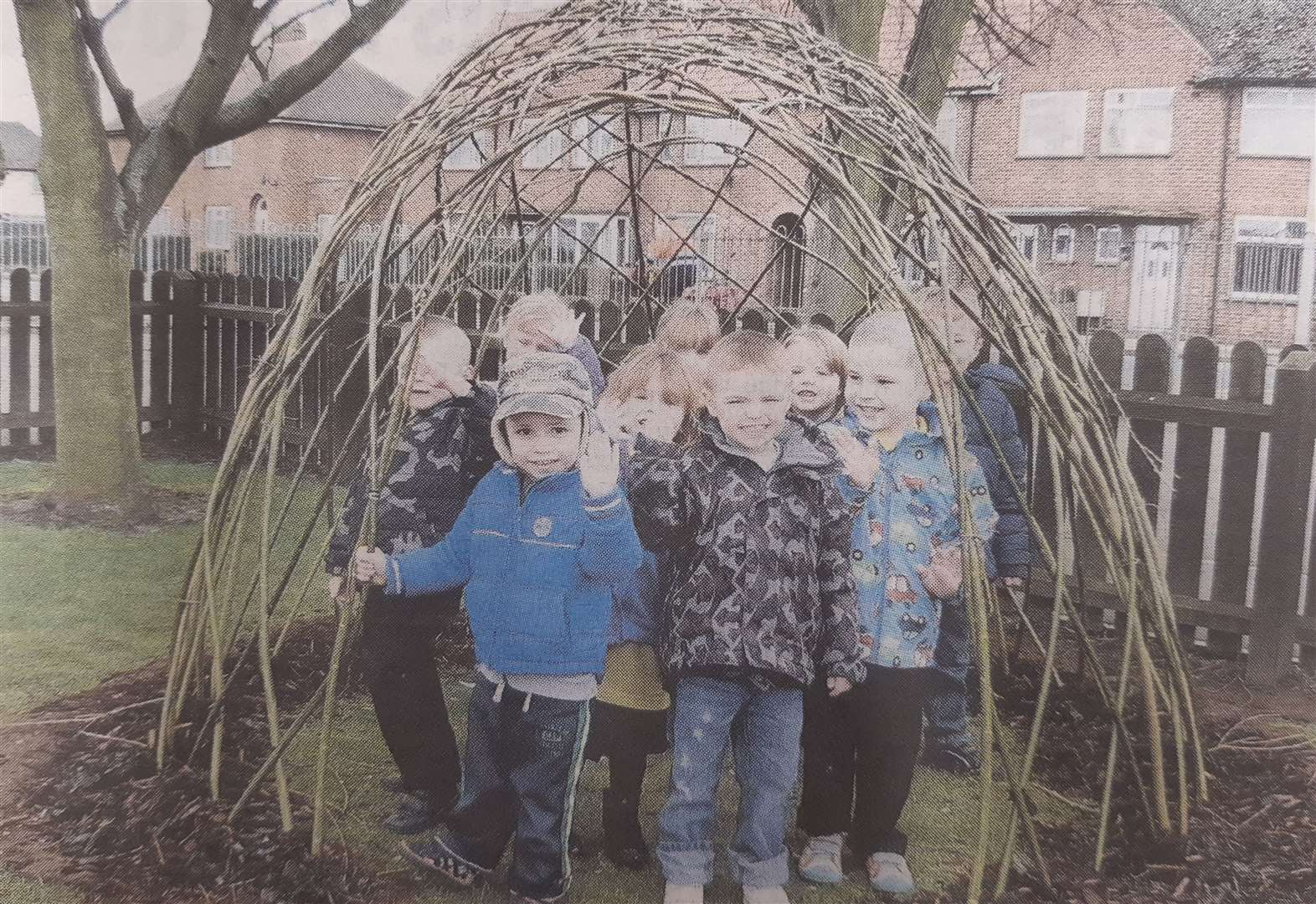 Youngsters in their willow house 10 years ago. (44680167)