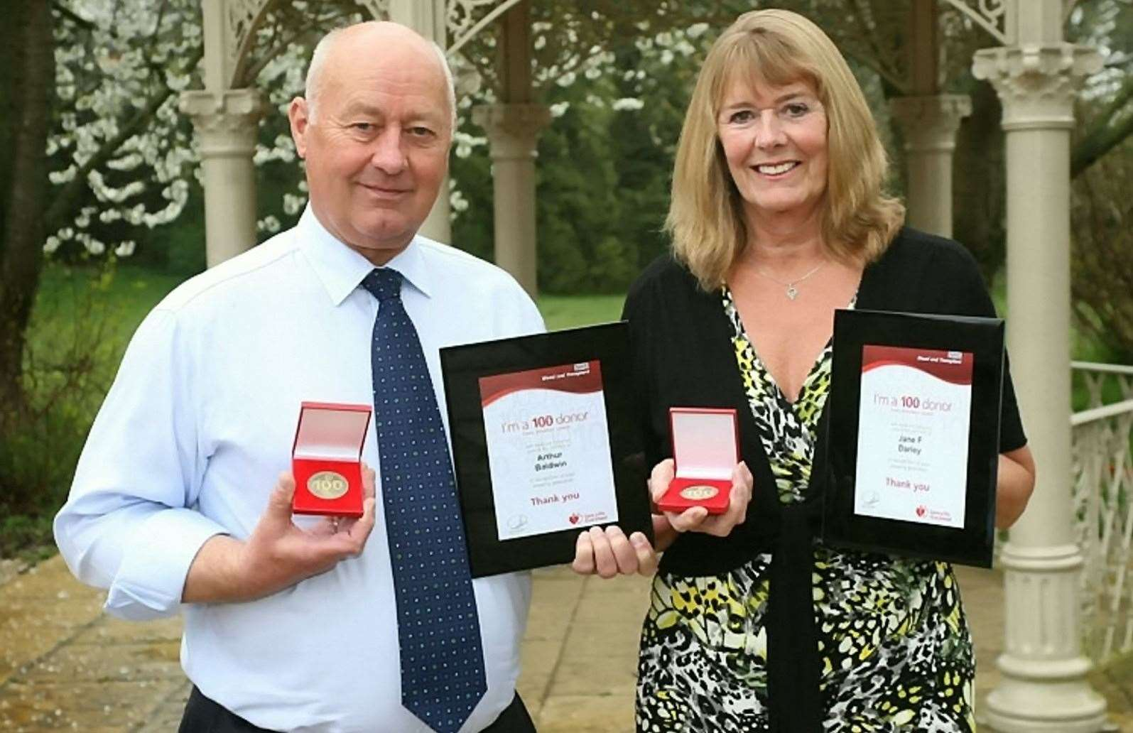 Arthur Baldwin and sister Jane Darley were both recognised by NHS Blood and Transplant in 2016 after each of them had donated 100 pints of blood.