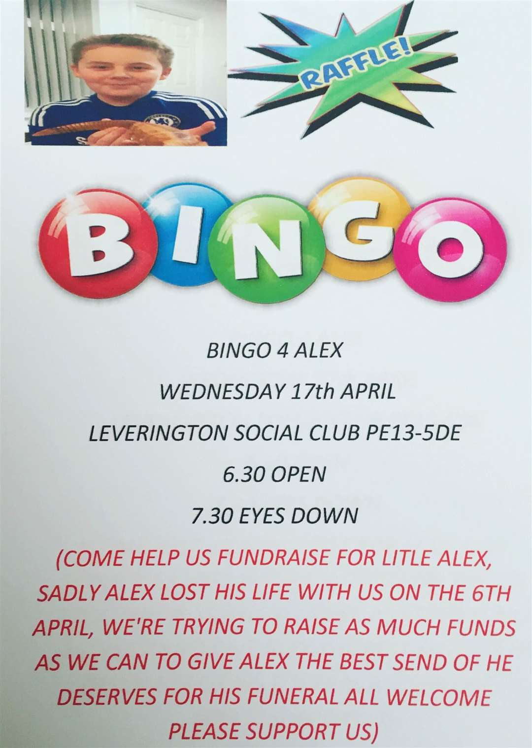 A bingo night to raise funds for the funeral of Alex Buchan is taking place at Leverington Sports and Social Club on Wednesday at 7.30pm. Photo supplied.