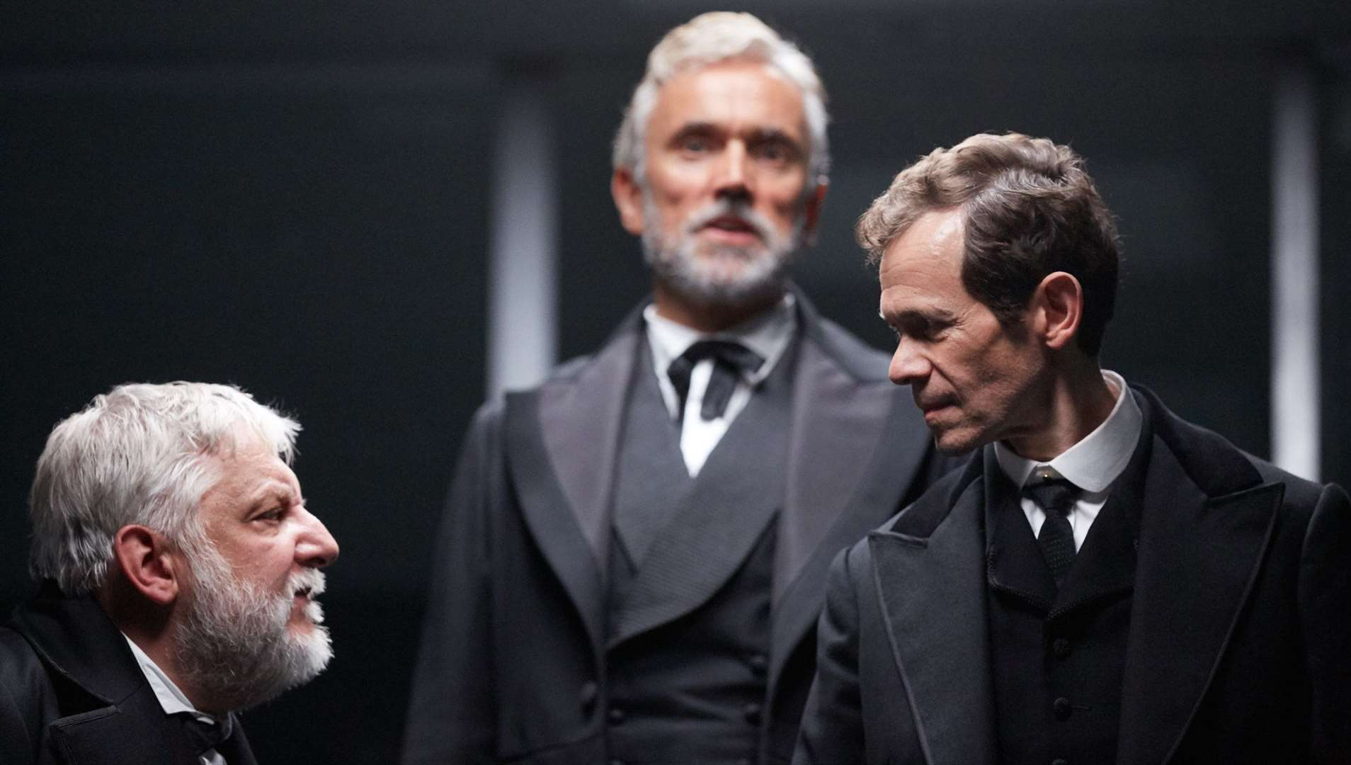 Simon Russell Beale, Ben Miles and Adam Godley in The Lehman Trilogy at the National Theatre, London, directed by Sam Mendes. Photo by Mark Douet.