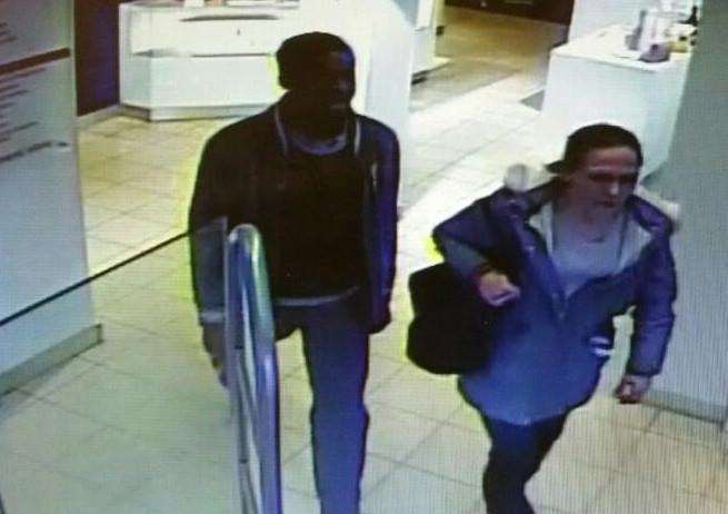 Police are trying to trace the man and woman in this CCTV image in relation to the theft of perfume from a display at Hills Department Store. Photo supplied by Lincolnshire Police.