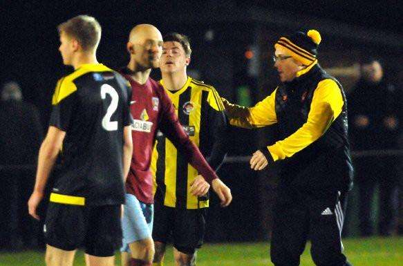 Seb Hayes celebrates victory over Deeping Rangers